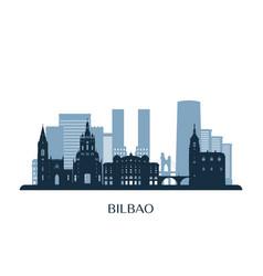 Bilbao skyline monochrome silhouette vector