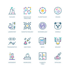 Biochemistry and genetics filled line icons vector