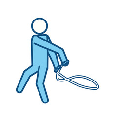 blue line pictogram man jumping rope workout vector image