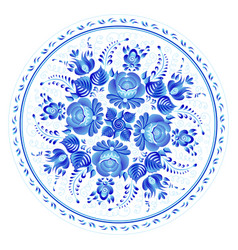 blue round floral ornament in russian gzhel style vector image