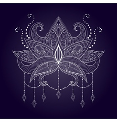 Boho ornamental white lotus flower blackwork vector image