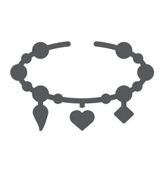 Bracelet with heart glyph icon jewellery and vector