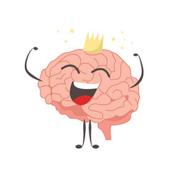 brain characters king winner making sport vector image