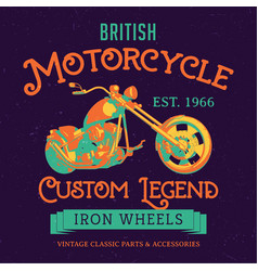 British motorcycle custom legend poster vector