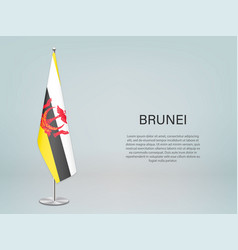 Brunei hanging flag on stand template vector