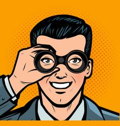 Businessman looking through binoculars business vector