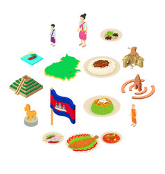 cambodia travel icons set isometric style vector image