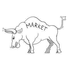 Cartoon drawing of angry bull as rising market vector