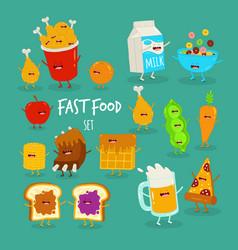 Cartoon food set breakfast cornflakes beer and vector