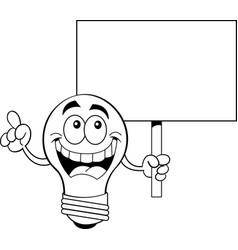 cartoon light bulb holding a sign vector image