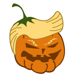 Cartoon pumpkin trump face vector