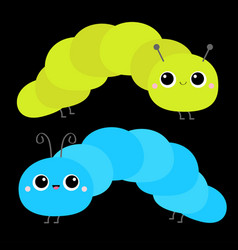 caterpillar insect icon set cute crawling vector image
