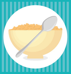 Cereal dish with spoon delicious food breakfast vector