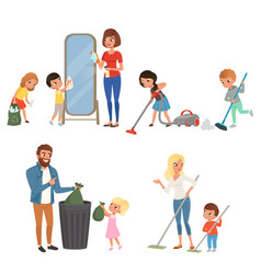 Children helping their parents with housework vector