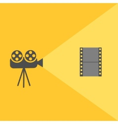 Cinema projector with light and film Flat design vector