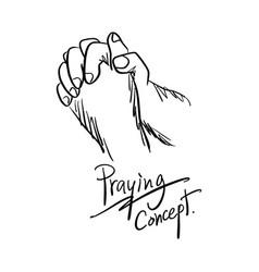 close-up hand praying sketch hand vector image