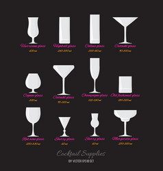cocktails glasses with names vector image