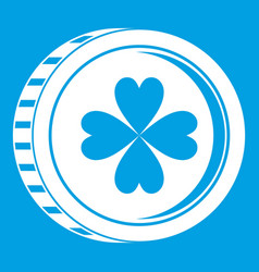 Coin with clover sign icon white vector