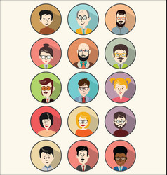 collection of 15 colorful flat user male vector image