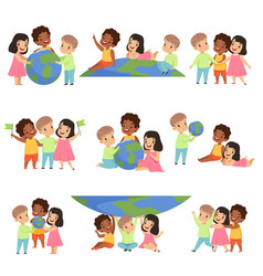collection of happy multicultural little kids vector image