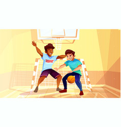 College boys play basketball vector