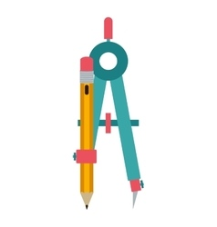 Colorful silhouette compass with pencil vector