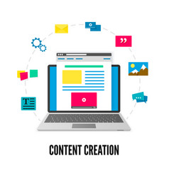 Content creation concept laptop with website on vector