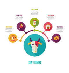 Cow farming icon and agriculture infographics vector