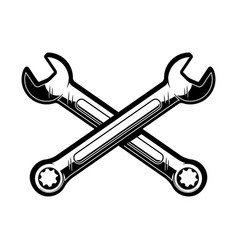 crossed wrenches design element for poster emblem vector image
