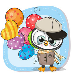 Cute cartoon penguin with balloon vector