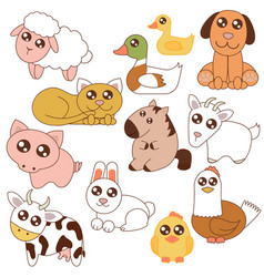 Cute farm animals set in vector