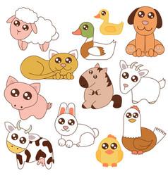 cute farm animals set vector image