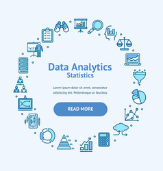 Data analytics statistics round design template vector