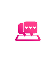 Dating app love chat icon with smart phone vector