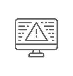 desktop computer with warning sign screen error vector image