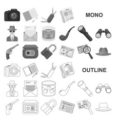Detective and attributes monochrom icons in set vector