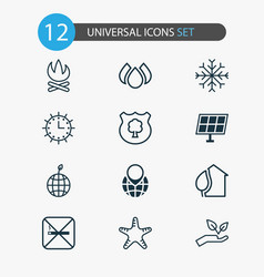 eco icons set with protect nature starfish solar vector image