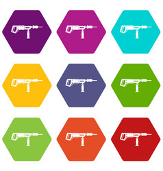 Electric drill perforator icon set color vector