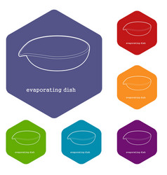Evaporating dish icon outline vector