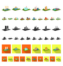 factory and plant cartoon icons in set collection vector image