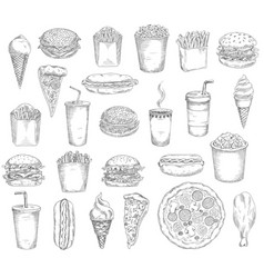 fast food meals drinks and snacks sketches vector image
