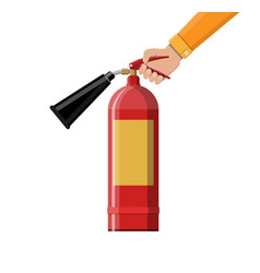 fire extinguisher in hand fire equipment vector image