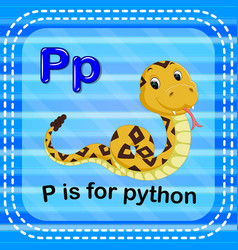 Flashcard letter p is for python vector