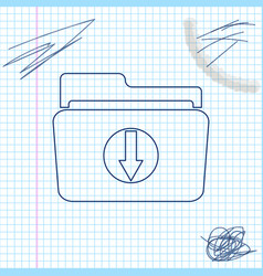 folder download line sketch icon isolated on white vector image