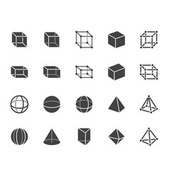 geometric shapes flat glyph line icons set vector image