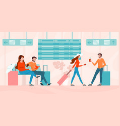 girl and boy in airport lounge vector image