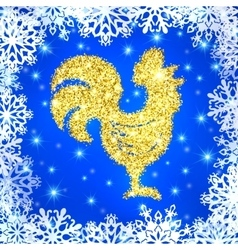 Glitter crowing rooster with stars on blue vector image
