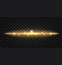 gold glittering wave with light shine neon effect vector image