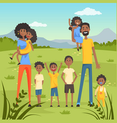 Happy black family with many children on nature vector