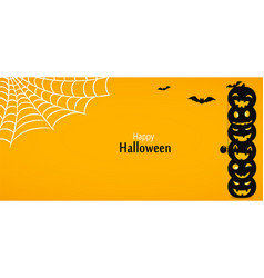 happy halloween yellow background or banner with vector image